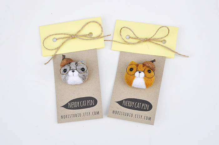 Needle Felted Gifts For The Cat Lovers! Nerdy Cat Pins!