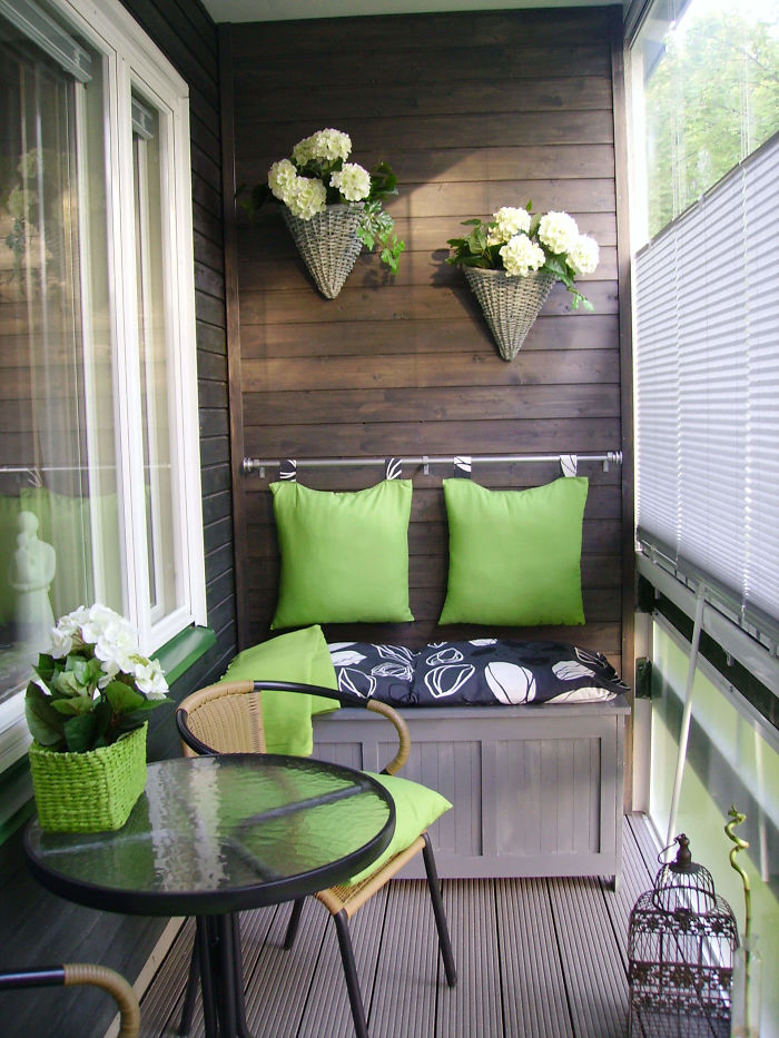 Adorable Small Balcony With Green Accents
