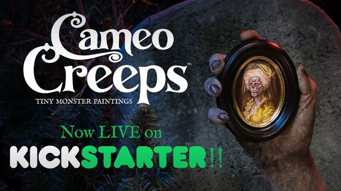 Handmade & Miniature Cameo Creeps Are Tiny Paintings With Monster Details!