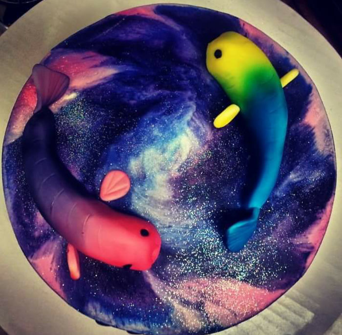 Pisces Galaxy Cake.