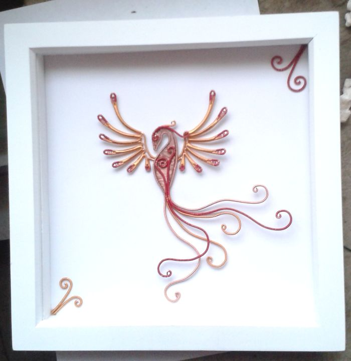Stunning Wire Wrapped Phoenix Shadow Box Wall Art