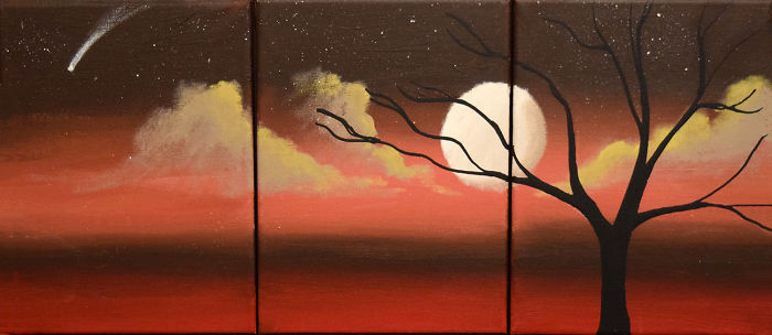Landscape Moon Painting, Beautiful And Atmospheric