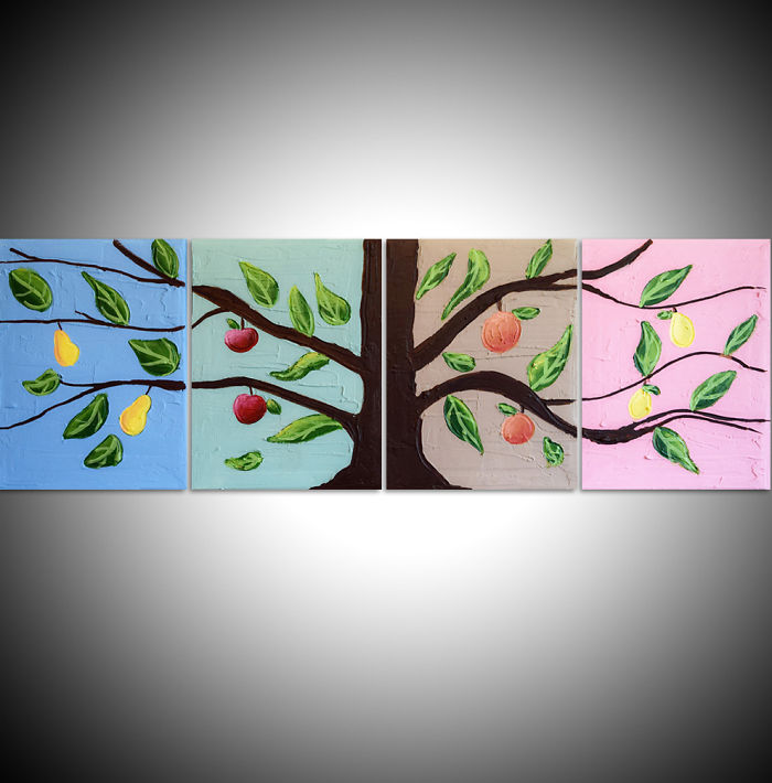 """""""the Fruit Tree"""" A New Set Of 4 Paintings By Myself Using My Plaster Technique & Acrylic Paint"""