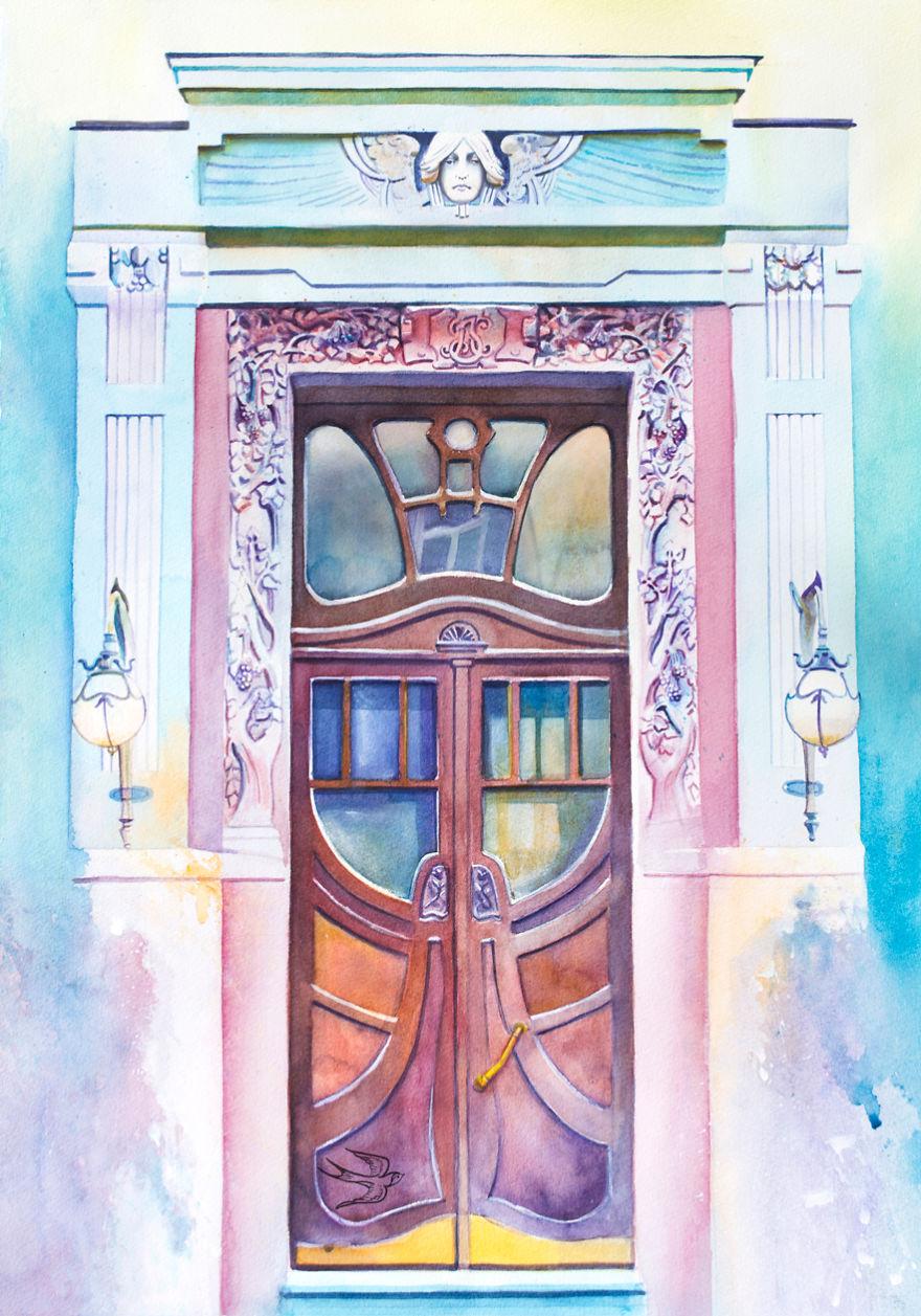 Yaroslav Val Street 49b Kyiv Ukraine  sc 1 st  Bored Panda & Ukrainian Artist Travels The World Painting Doors In Watercolor ...