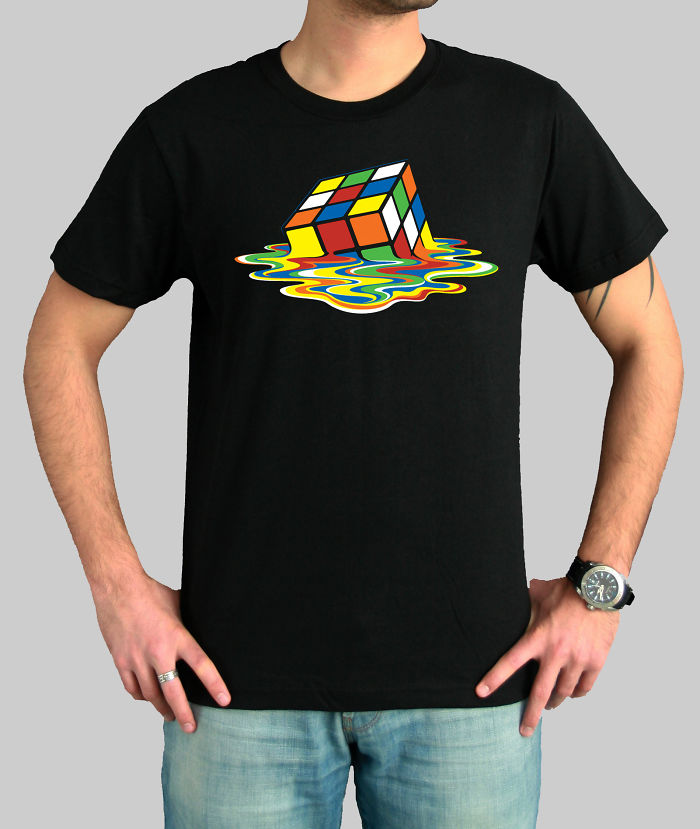 Melting Rubik Cube The Big Bang Theory Sheldon Cooper Black T-shirt