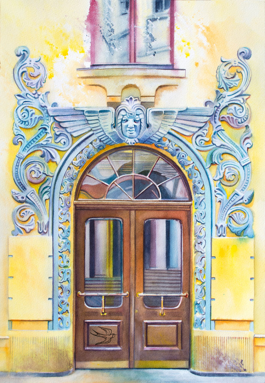 Meistaru iela 10/12 Riga Latvia  sc 1 st  Bored Panda & Ukrainian Artist Travels The World Painting Doors In Watercolor ... pezcame.com