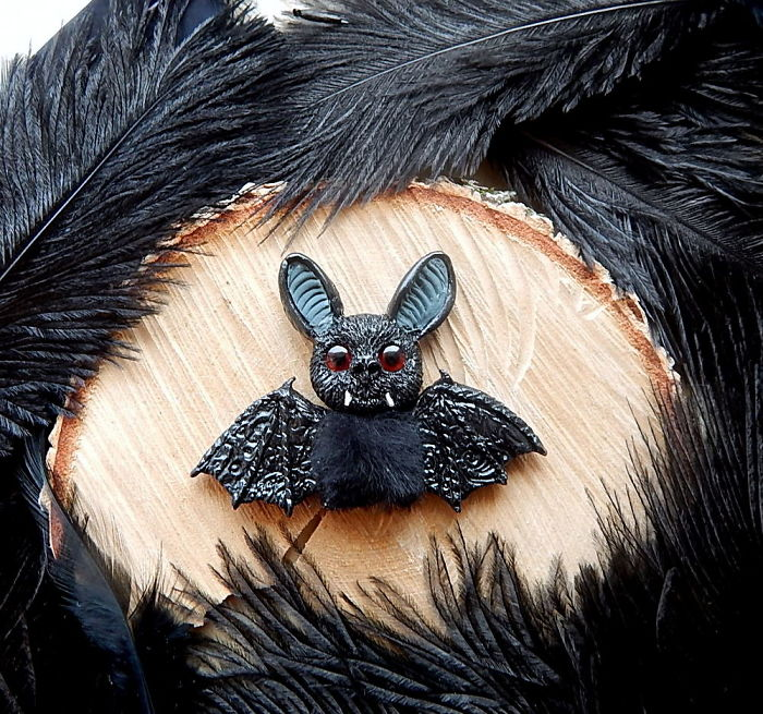 I Created A Vampire Bat Brooch Of Polymer Clay And Real Fur