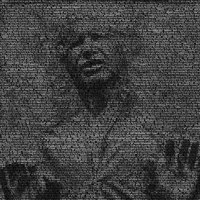 I Used The Empire Strikes Back Script To Create A Typographic Life Sized Han Solo In Carbonite