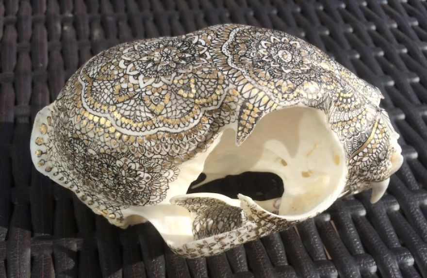 I Decorate Skulls With Golden Mandalas To Honour Fallen