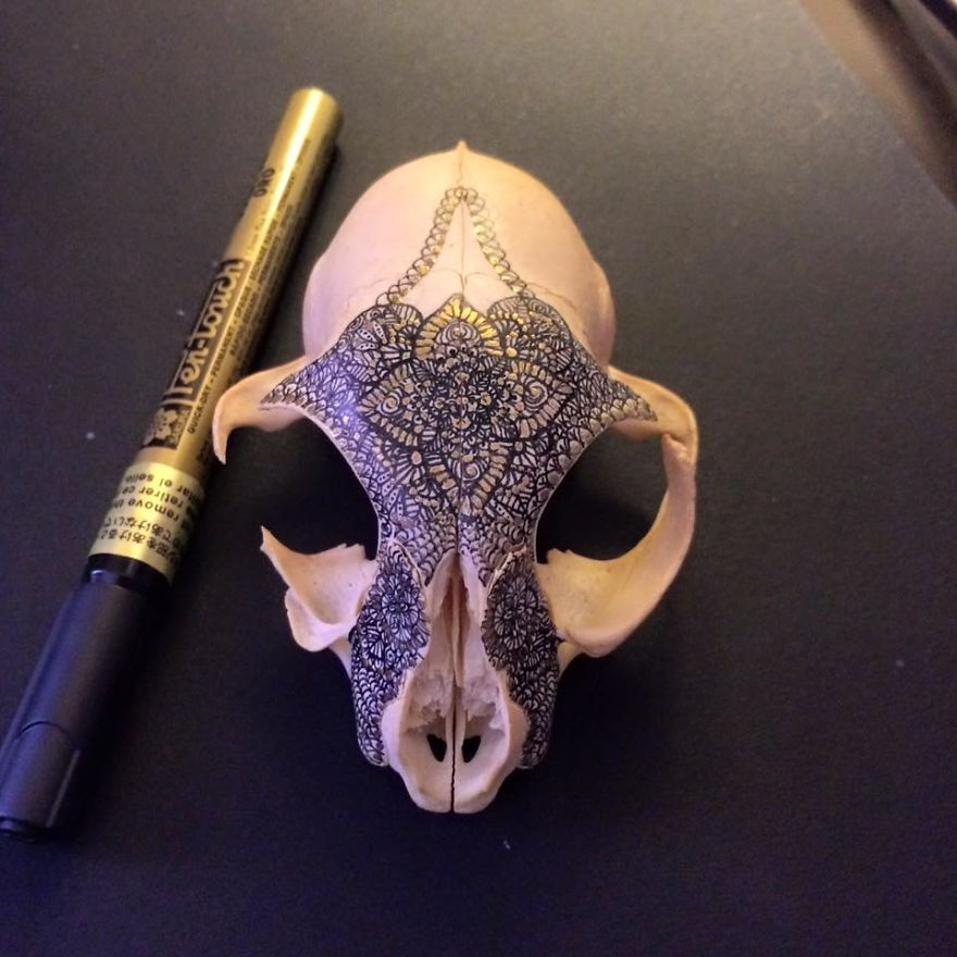 Artist Decorate Skulls With Golden Mandalas To Honour Fallen