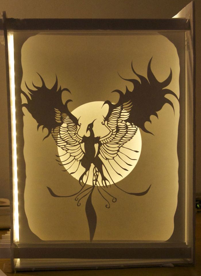 Papercut Lightboxes That I Cut From One Continuous Piece