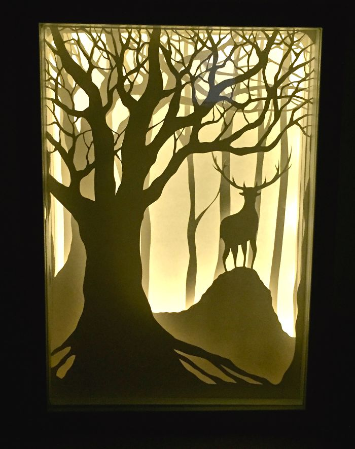 papercut lightboxes that i cut from one continuous piece of paper bored panda. Black Bedroom Furniture Sets. Home Design Ideas