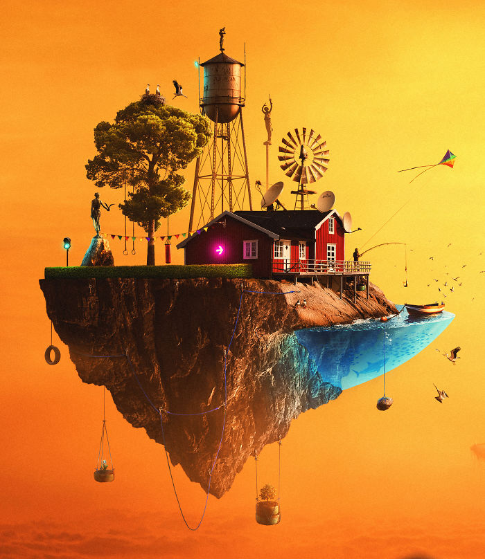 The Surreal World Of Humans Living On Flying Islands