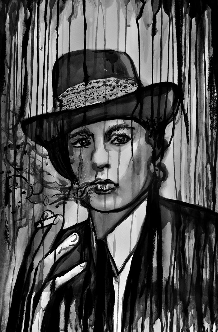 Vintage French Film Star Alain Delon Smoking Under The Rain, Ink Painting By Alex Solodov