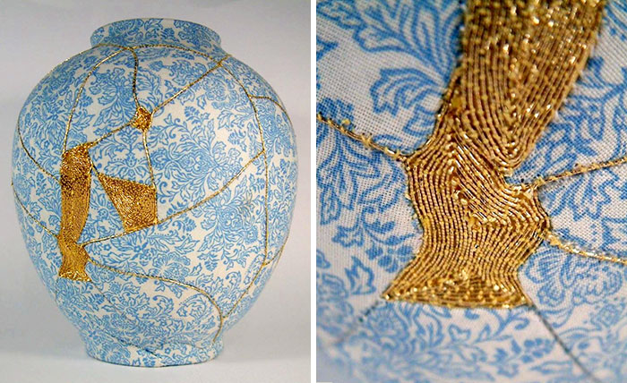 Broken Vases Repaired By Sewing Them With Gold Thread Using Ancient Japanese Technique