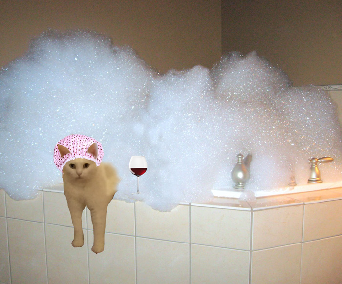 Cat Relaxing In A Bubble Bath After A Long Day