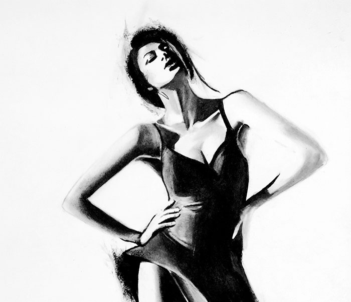 I Created Fashion Drawings Using Charcoal