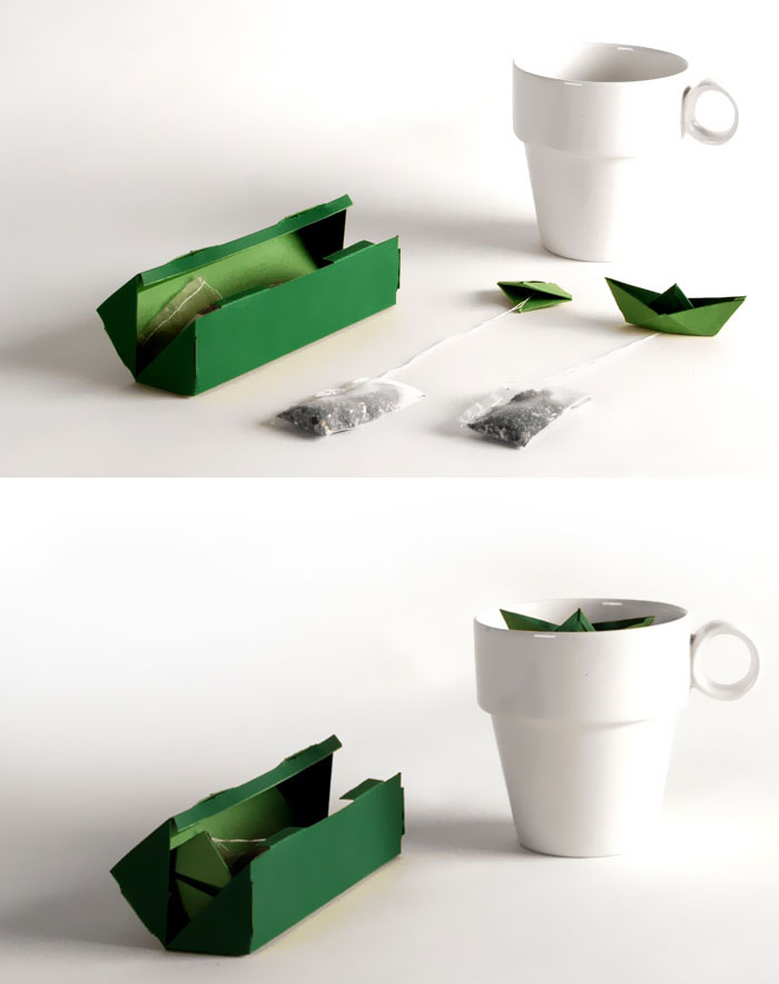 Paper Boats Attached To Tea Bags
