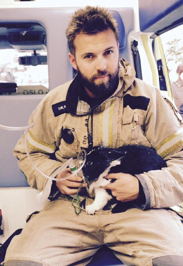 Norwegian Firefighter Giving Oxygen To A Rabbit After Rescuing It From An Appartment Fire