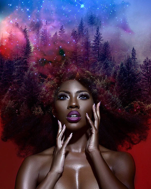 Afros turned into flowery galaxies to make black women - Diva big man ...