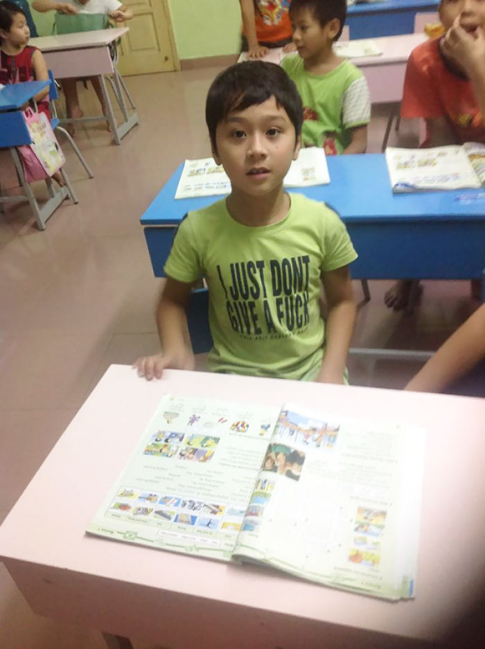 My Brother Teaches English In Vietnam. I Don't Think This Young Student Or His Parents understood What His T-Shirt Meant