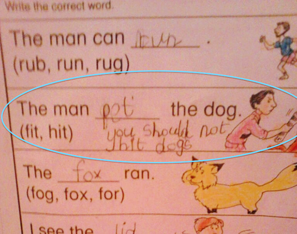 My Friend's 5 Year Old Son Had This For Homework Tonight, And He Changed The Answer To Something More Humane