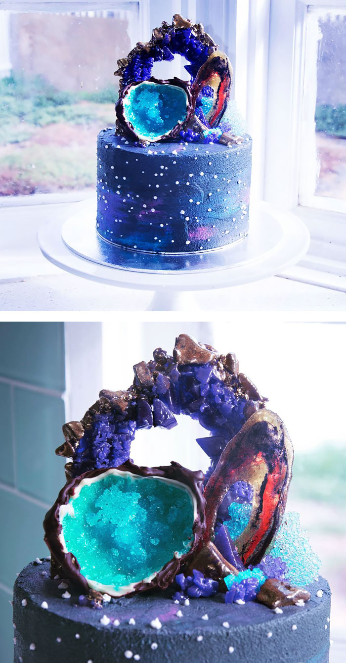 Galaxy And Gemstones Cake