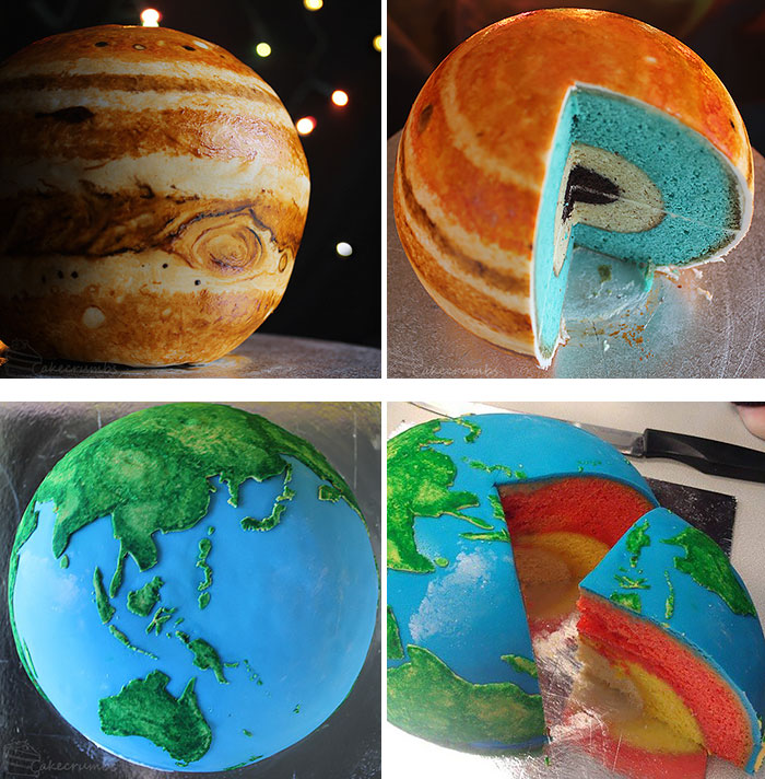 Jupiter And Earth Structural Layer Cakes