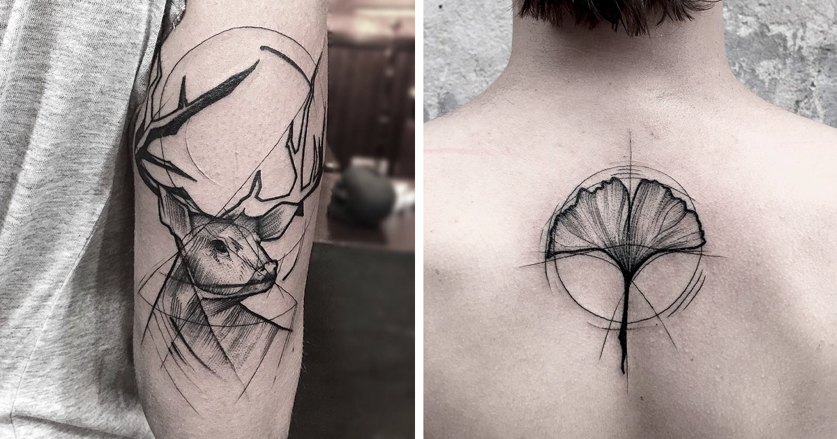 Line Art Animals Tattoo : Sketch tattoos by frank carrilho show the beauty of imperfection