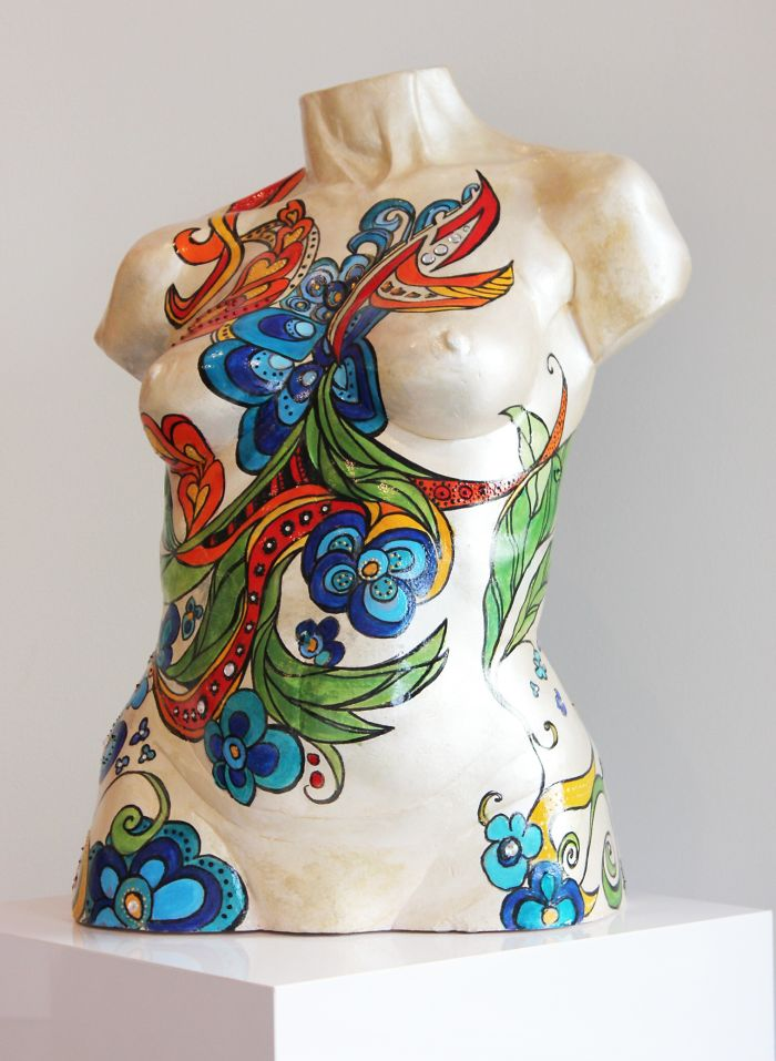 Life Size Ceramic Torso Painted With Jewels