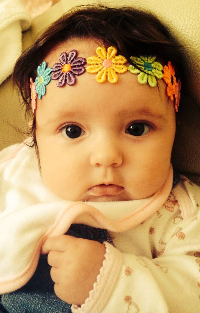 My Daughter Wearing Flower Headband Beautiful
