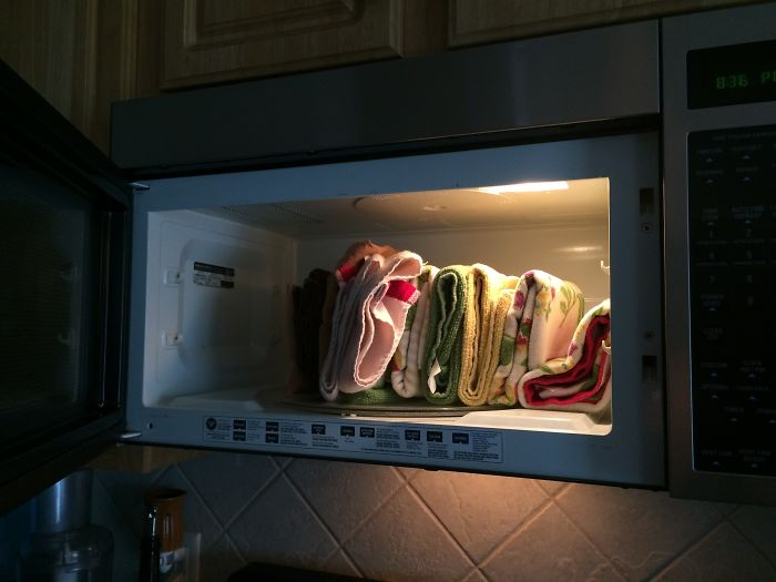 I Told My Husband The Towels Go In The Kitchen, So He Put Them There.