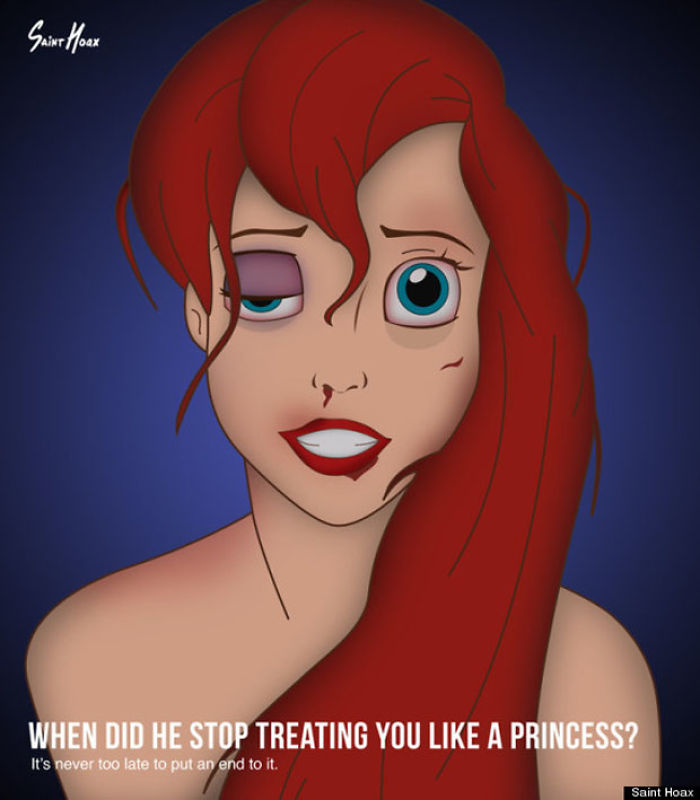 Disney Princesses Depicted As Victims Of Domestic Abuse