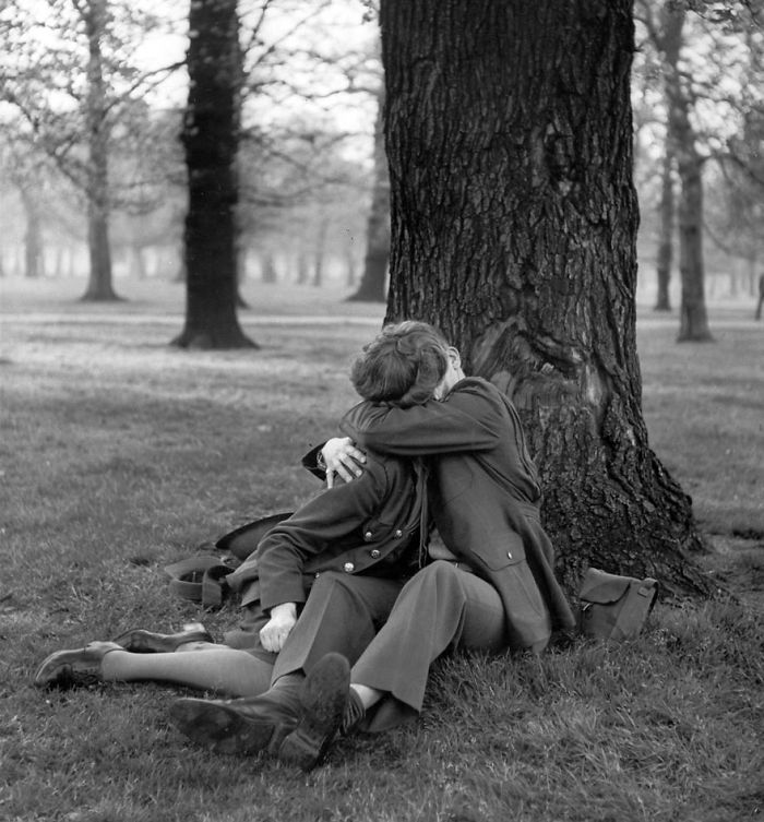 An English ATS And Eighth Air Force Sergeant Enjoy A Blissful Kiss, 1945