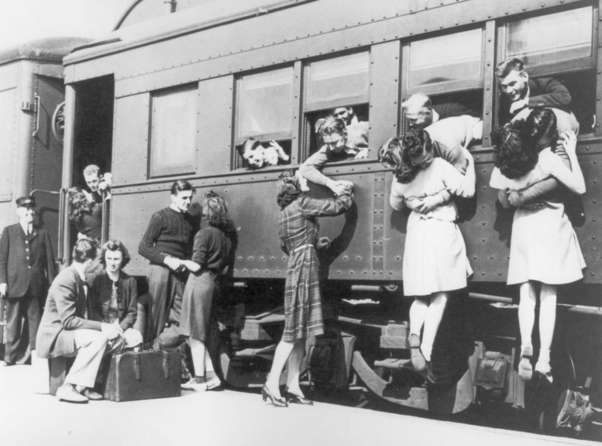 Saying Goodbye At The Train Station Before Departing To WWII