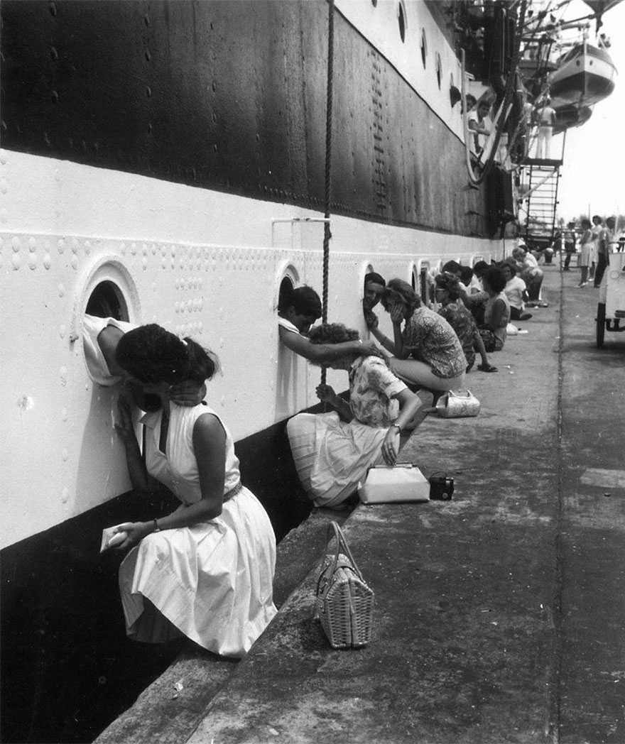 American Soldiers Getting Last Kiss On Ship Before Deployment To Egypt, 1963