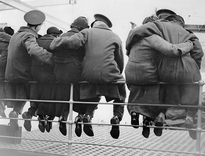 English Soldiers Saying Goodbye To Their Wives, Getting Ready To Go To Egypt, 1937
