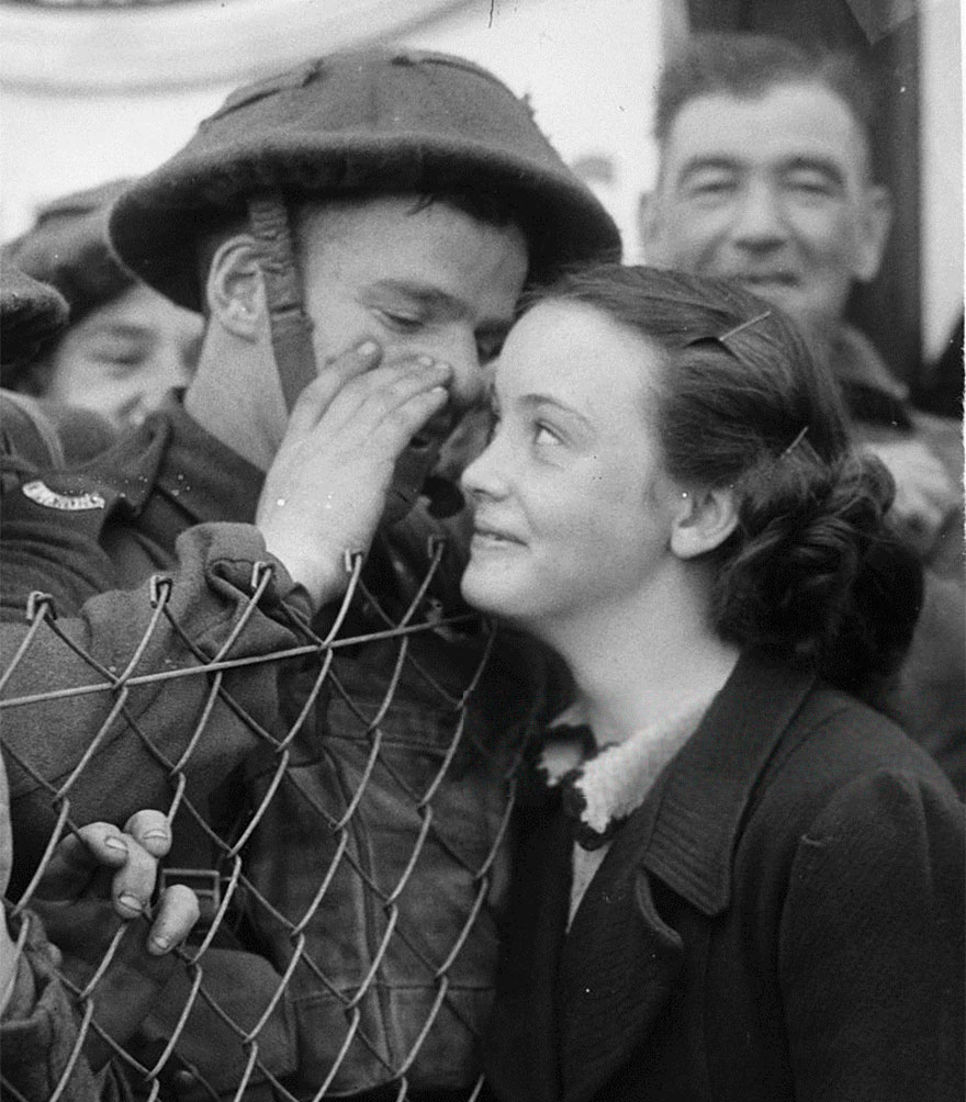 A British Soldier Whispers Into The Ear Of A Loved One As He Leaves For The Front, 1939