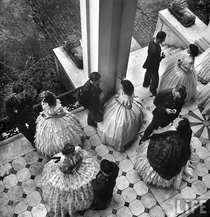 Coffee Served On Porch Of Ante-Bellum Mansion, At Party For Cadets From Local Army Flying School, Mississippi, US, 1943