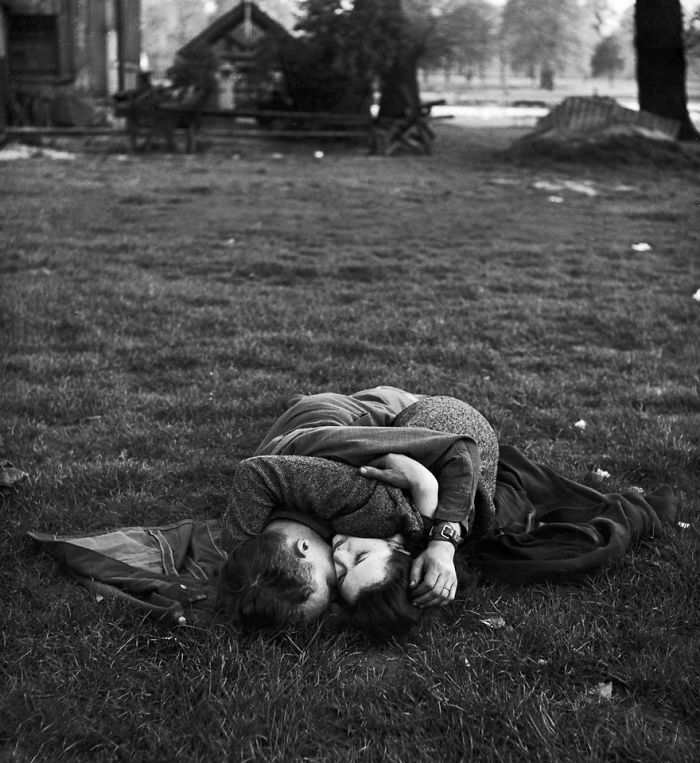 American Soldier Kissing His English Girlfriend On Lawn In Hyde Park, 1945
