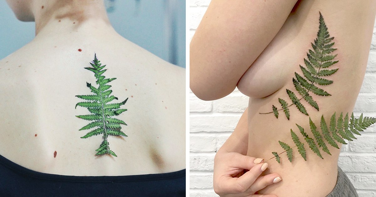 ec2eb5e90 Tattoo Artist Uses Real Leaves And Flowers As Stencils To Create Botanical  Tattoos | Bored Panda