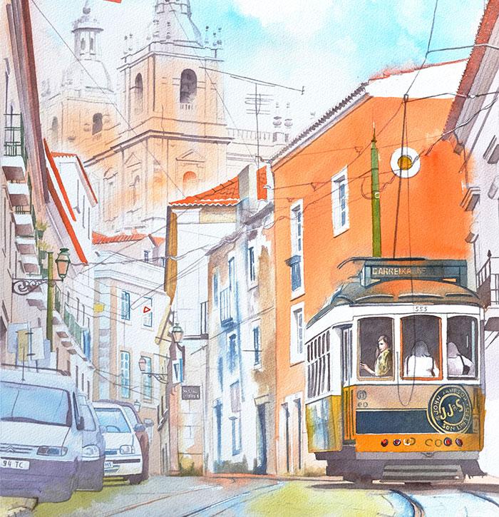Portuguese Dream In Beautiful Architectural Watercolors