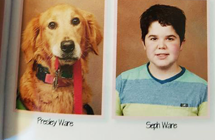 School Yearbook Includes Loyal Service Dog Next To Her Boy Who Has Muscular Dystrophy