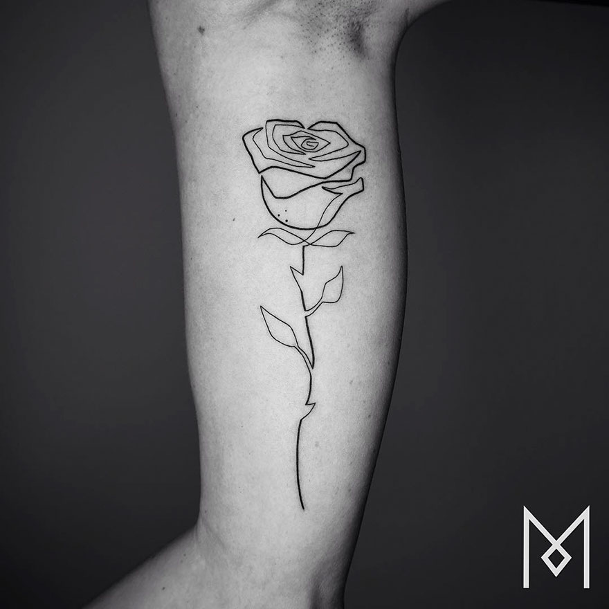 Minimalist Single Line Tattoos By Iranian-German Artist ...