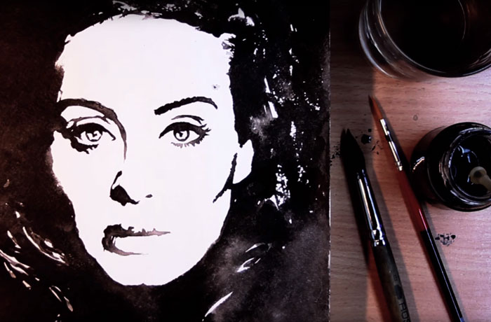 I Created Adele's Portrait Using Ink And Water