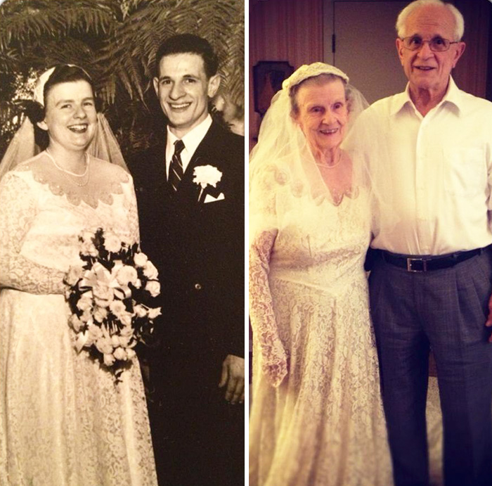 My Grandmother Wearing Her Original Wedding Dress On Her 60th Anniversary With My Grandfather