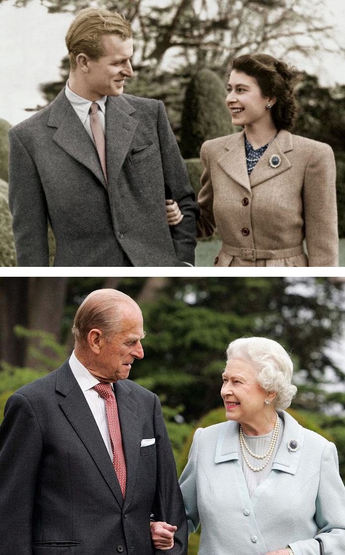 Queen Elizabeth And Prince Philip Sharing Same Smiles In 1947 And After 60 Years
