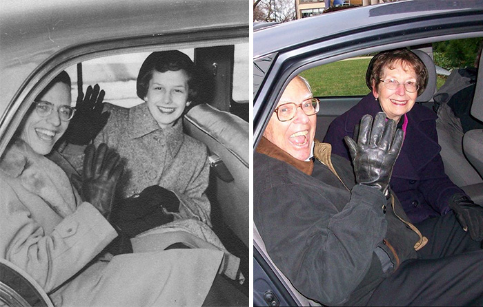 My Grandparents On Their Wedding Night, And 60 Years Later