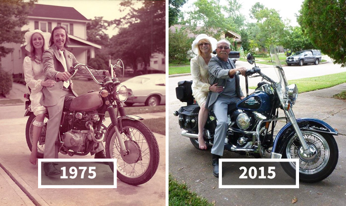 15+ Couples Recreating Their Old Photos Prove That True Love Is Forever
