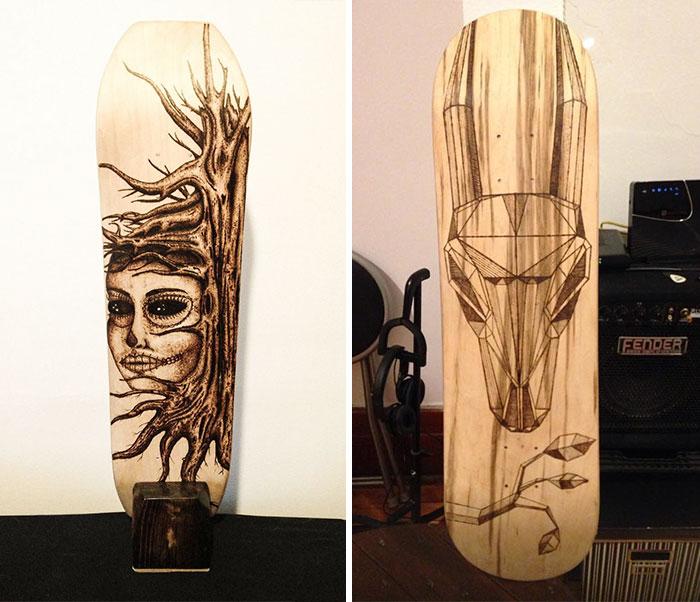 I Create Unique Designs Using Old Skateboards
